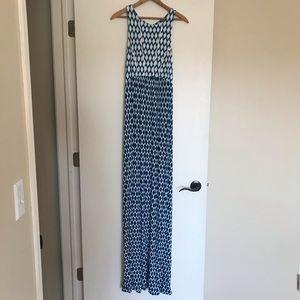 Tart Navy, Blue & White Ikat Printed Maxi Dress